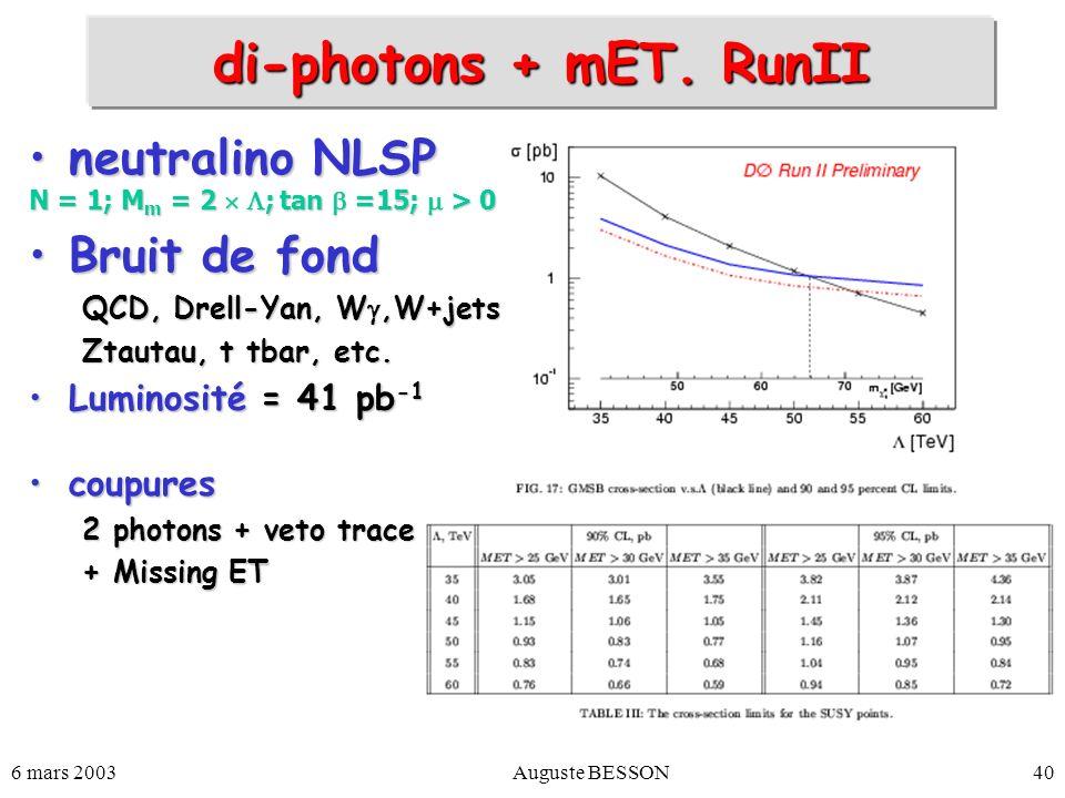 6 mars 2003Auguste BESSON40 di-photons + mET. RunII neutralino NLSPneutralino NLSP N = 1; M m = 2 ; tan =15; > 0 Bruit de fondBruit de fond QCD, Drell