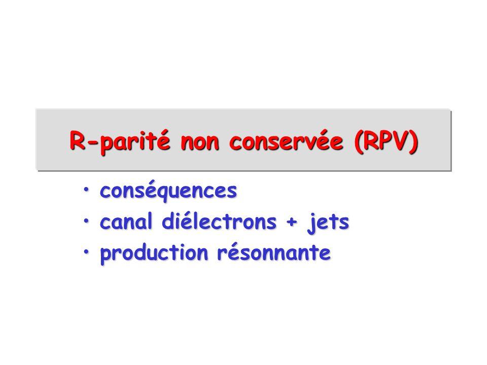 R-parité non conservée (RPV) conséquences conséquences canal diélectrons + jets canal diélectrons + jets production résonnante production résonnante