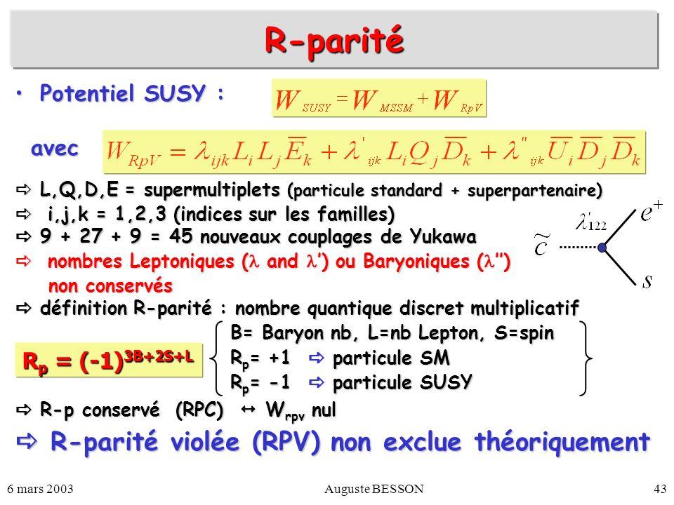 6 mars 2003Auguste BESSON43 Potentiel SUSY :Potentiel SUSY : L,Q,D,E = supermultiplets (particule standard + superpartenaire) L,Q,D,E = supermultiplet