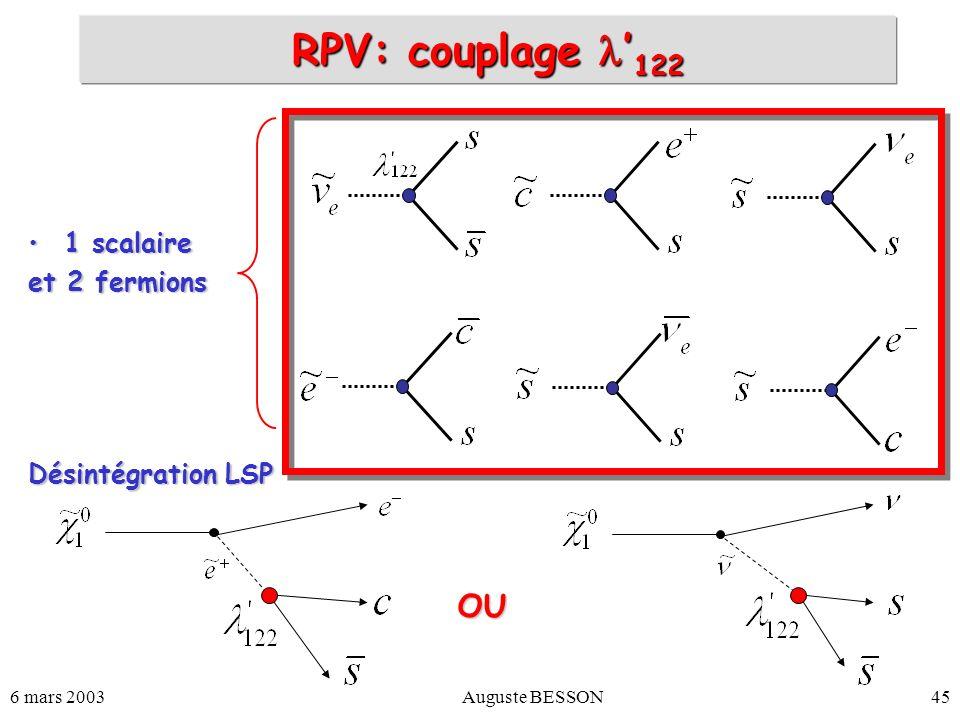 6 mars 2003Auguste BESSON45 RPV: couplage 122 1 scalaire1 scalaire et 2 fermions Désintégration LSP OU