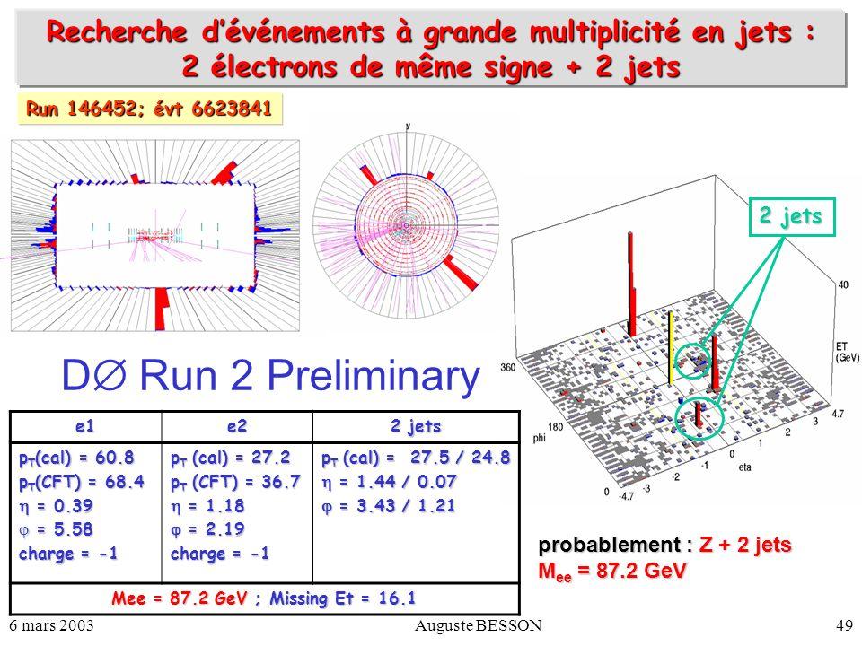 6 mars 2003Auguste BESSON49 Recherche dévénements à grande multiplicité en jets : 2 électrons de même signe + 2 jets e1e2 2 jets p T (cal) = 60.8 p T