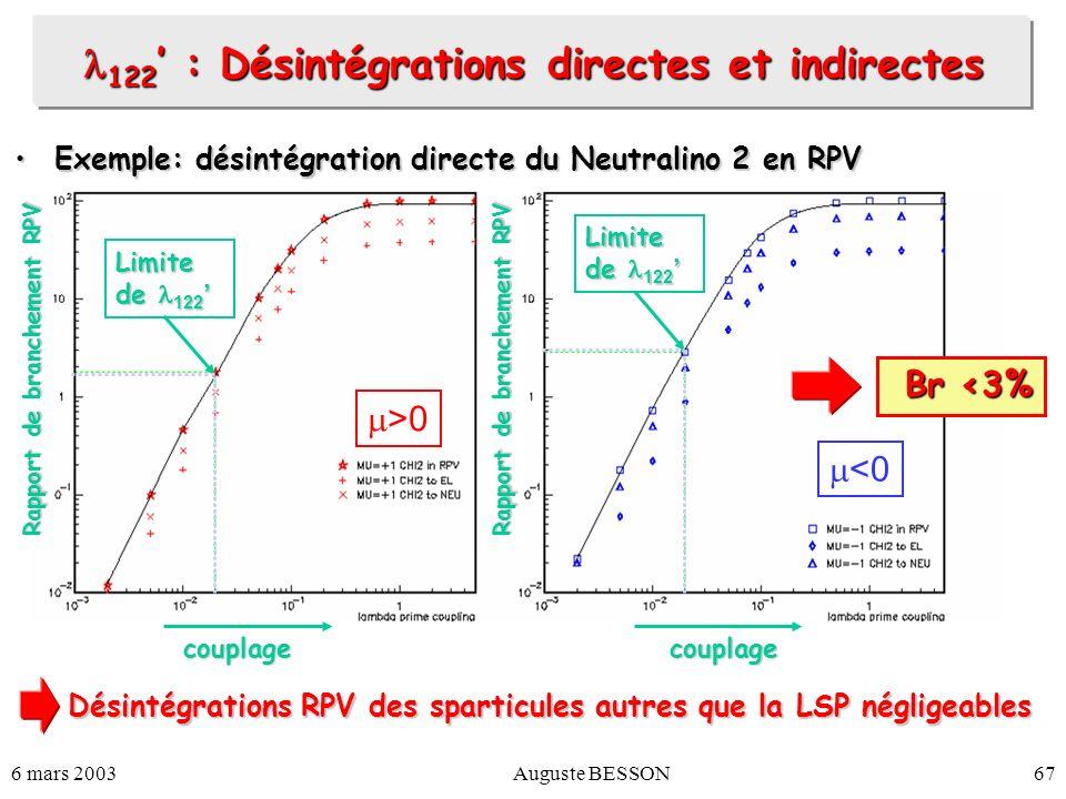 6 mars 2003Auguste BESSON67 122 : Désintégrations directes et indirectes 122 : Désintégrations directes et indirectes Exemple: désintégration directe