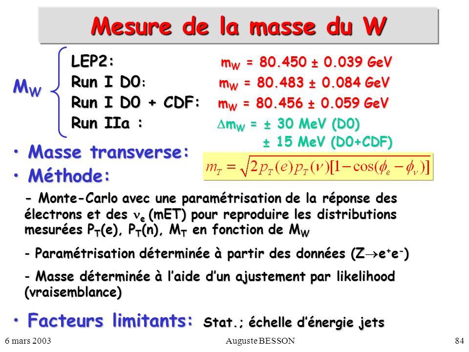 6 mars 2003Auguste BESSON84 Mesure de la masse du W M W Masse transverse: Masse transverse: Méthode: Méthode: Facteurs limitants: Stat.; échelle déner