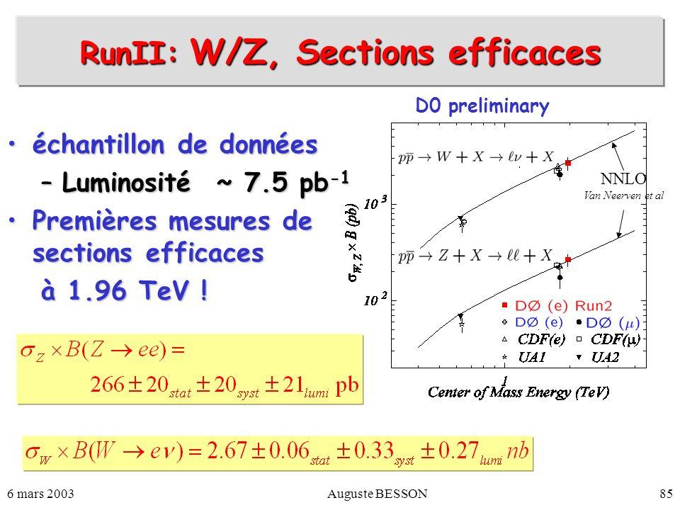 6 mars 2003Auguste BESSON85 RunII: W/Z, Sections efficaces échantillon de donnéeséchantillon de données –Luminosité ~ 7.5 pb -1 Premières mesures de s