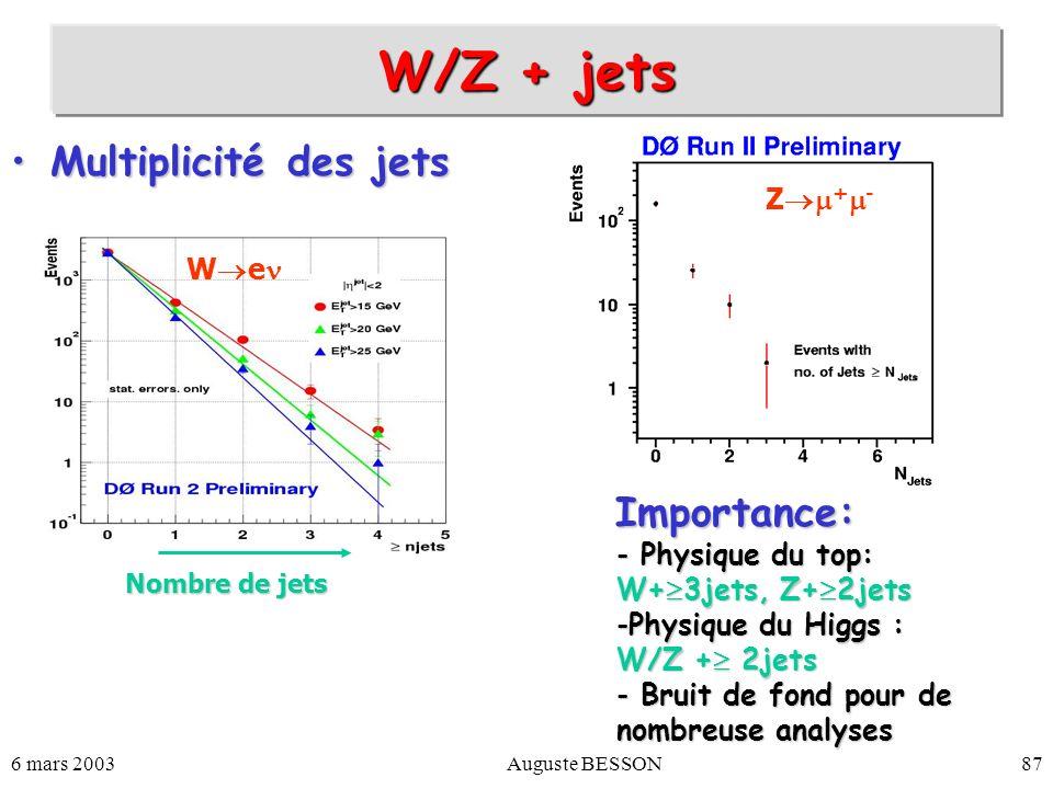 6 mars 2003Auguste BESSON87 W/Z + jets Multiplicité des jetsMultiplicité des jets Importance: Importance: - Physique du top: W+ 3jets, Z+ 2jets -Physi