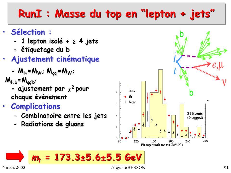 6 mars 2003Auguste BESSON91 Sélection :Sélection : -1 lepton isolé + 4 jets -étiquetage du b Ajustement cinématiqueAjustement cinématique - M l =M W ;