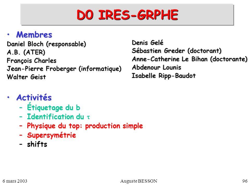 6 mars 2003Auguste BESSON96 D0 IRES-GRPHE MembresMembres Daniel Bloch (responsable) A.B. (ATER) François Charles Jean-Pierre Froberger (informatique)