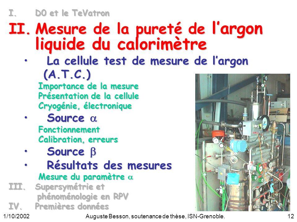 1/10/2002Auguste Besson, soutenance de thèse, ISN-Grenoble.12 I.D0 et le TeVatron II.Mesure de la pureté de largon liquide du calorimètre La cellule t
