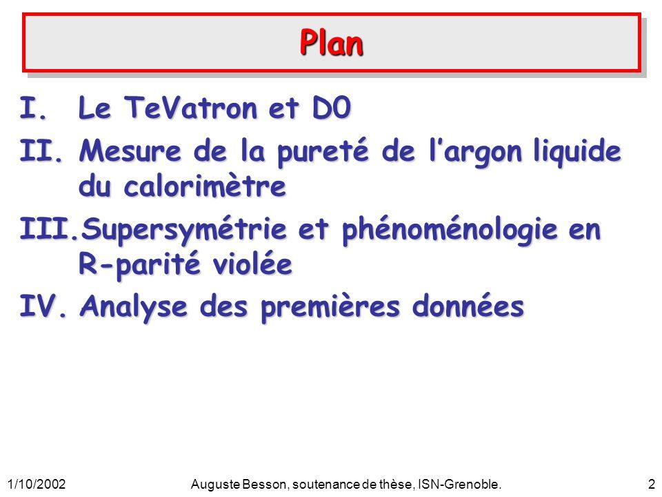 1/10/2002Auguste Besson, soutenance de thèse, ISN-Grenoble.2 PlanPlan I.Le TeVatron et D0 II.Mesure de la pureté de largon liquide du calorimètre III.
