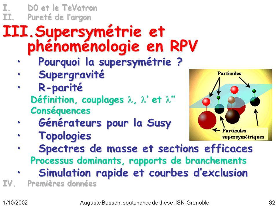 1/10/2002Auguste Besson, soutenance de thèse, ISN-Grenoble.32 I.D0 et le TeVatron II.Pureté de largon III.Supersymétrie et phénoménologie en RPV Pourquoi la supersymétrie ?Pourquoi la supersymétrie .