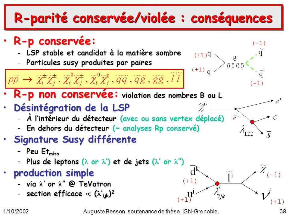 1/10/2002Auguste Besson, soutenance de thèse, ISN-Grenoble.38 R-parité conservée/violée : conséquences R-p conservée:R-p conservée: -LSP stable et can