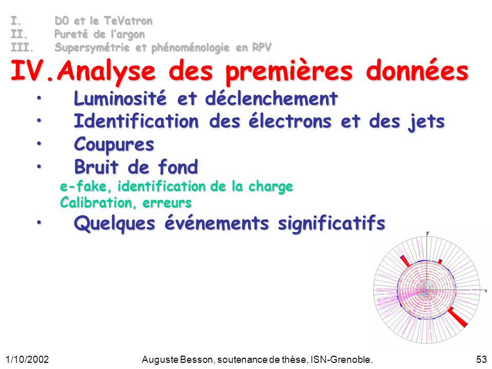 1/10/2002Auguste Besson, soutenance de thèse, ISN-Grenoble.53 I.D0 et le TeVatron II.Pureté de largon III.Supersymétrie et phénoménologie en RPV IV.An