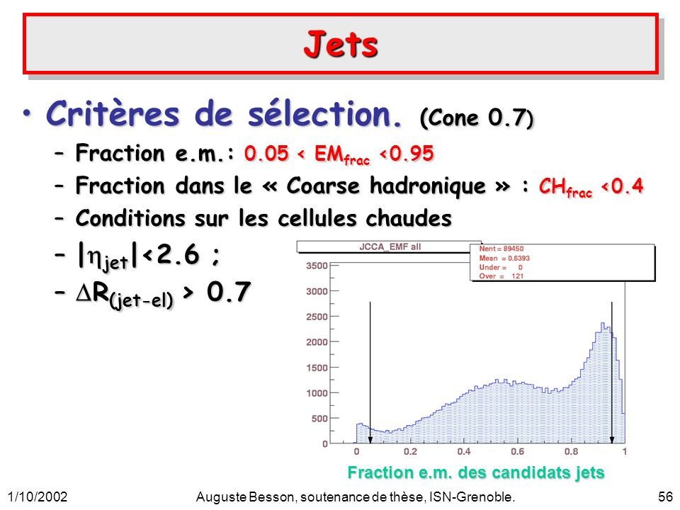 1/10/2002Auguste Besson, soutenance de thèse, ISN-Grenoble.56 JetsJets Critères de sélection.