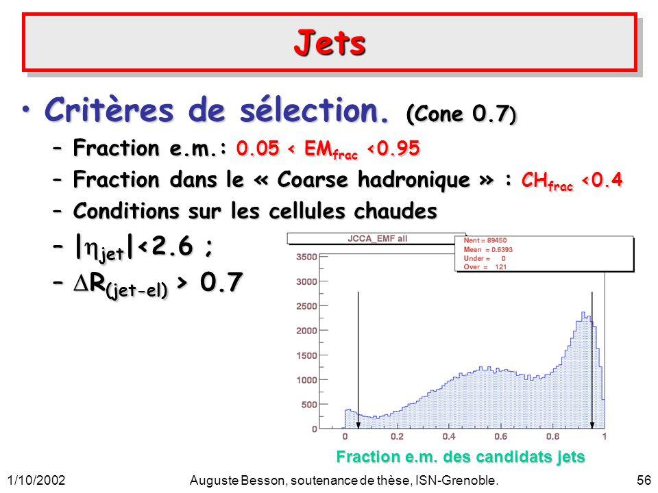 1/10/2002Auguste Besson, soutenance de thèse, ISN-Grenoble.56 JetsJets Critères de sélection. (Cone 0.7 )Critères de sélection. (Cone 0.7 ) –Fraction