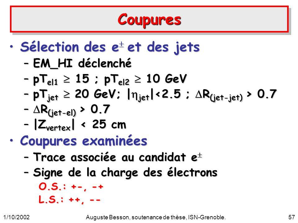1/10/2002Auguste Besson, soutenance de thèse, ISN-Grenoble.57 CoupuresCoupures Sélection des e et des jetsSélection des e et des jets –EM_HI déclenché