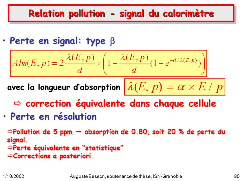 1/10/2002Auguste Besson, soutenance de thèse, ISN-Grenoble.85 Relation pollution - signal du calorimètre avec la longueur dabsorption correction équivalente dans chaque cellule correction équivalente dans chaque cellule Perte en signal: type Perte en signal: type Perte en résolution Perte en résolution Pollution de 5 ppm absorption de 0.80, soit 20 % de perte du signal.
