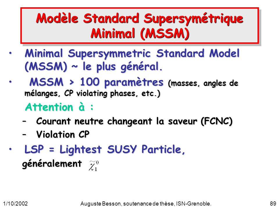 1/10/2002Auguste Besson, soutenance de thèse, ISN-Grenoble.89 Modèle Standard Supersymétrique Minimal (MSSM) Minimal Supersymmetric Standard Model (MS