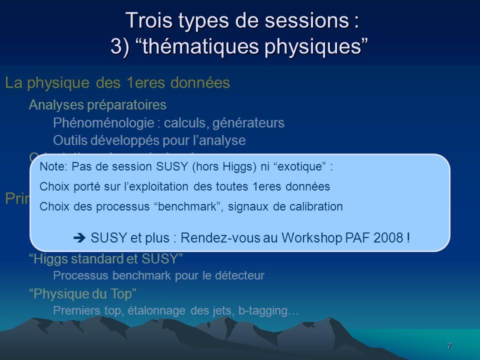 7 Trois types de sessions : 3) thématiques physiques Trois types de sessions : 3) thématiques physiques La physique des 1eres données Analyses prépara