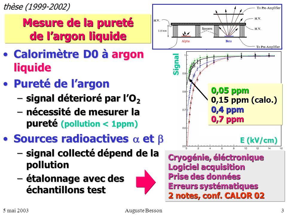 5 mai 2003Auguste Besson3 Mesure de la pureté de largon liquide Calorimètre D0 à argon liquideCalorimètre D0 à argon liquide Pureté de largonPureté de largon –signal déterioré par lO 2 –nécessité de mesurer la pureté (pollution < 1ppm) Sources radioactives etSources radioactives et –signal collecté dépend de la pollution –étalonnage avec des échantillons test thèse (1999-2002) Signal 0,05 ppm 0,15 ppm (calo.) 0,4 ppm 0,7 ppm E (kV/cm) Cryogénie, éléctronique Logiciel acquisition Prise des données Erreurs systématiques 2 notes, conf.