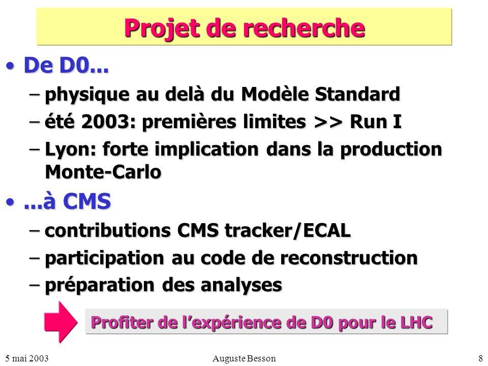 5 mai 2003Auguste Besson8 Projet de recherche De D0...De D0...