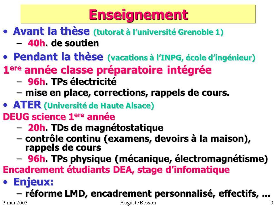 5 mai 2003Auguste Besson9 Enseignement Avant la thèse (tutorat à luniversité Grenoble 1)Avant la thèse (tutorat à luniversité Grenoble 1) – 40h.