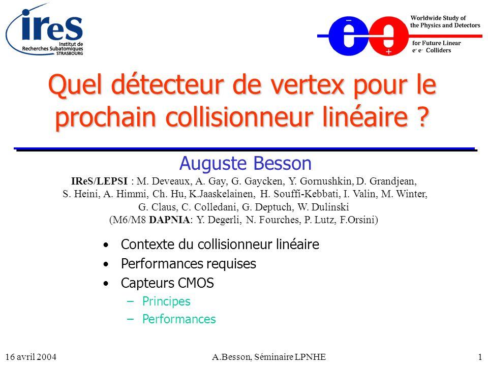 16 avril 2004A.Besson, Séminaire LPNHE22 Le prochain collisionneur linéaire 3 projets : (~ 500-1000 GeV) –NLC (Next Linear Collider) –JLC –TESLA (TeV Energy Superconducting Linear Accelerator) Technologie froide Laser à électrons libres (X-FEL) + Compact Linear Collider (CLIC) ~ 5 TeV Plus long terme ( 2025) Technologie chaude Début des travaux de développement Choix de la technologie Début de la Construction Premières collisions 1992 2004 2007-2009 2015 .