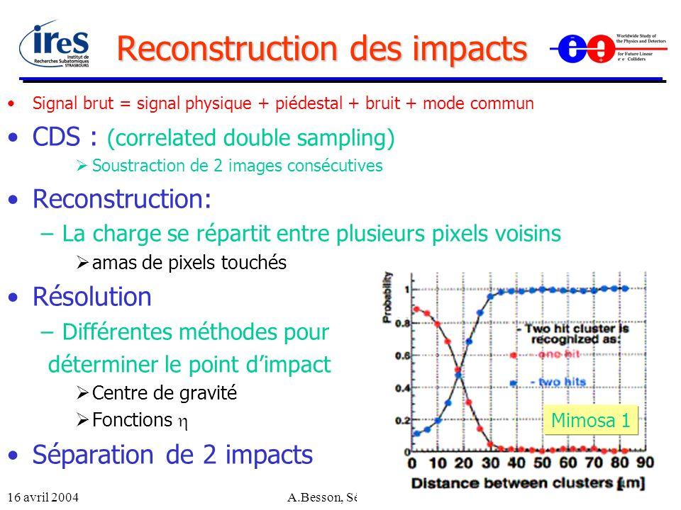 16 avril 2004A.Besson, Séminaire LPNHE13 Reconstruction des impacts Signal brut = signal physique + piédestal + bruit + mode commun CDS : (correlated