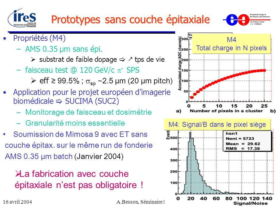16 avril 2004A.Besson, Séminaire LPNHE16 Prototypes sans couche épitaxiale Propriétés (M4) –AMS 0.35 µm sans épi. substrat de faible dopage tps de vie