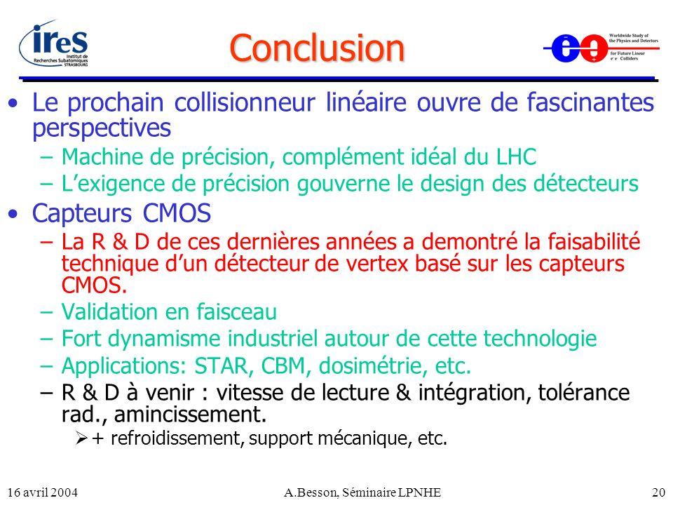 16 avril 2004A.Besson, Séminaire LPNHE20 Conclusion Le prochain collisionneur linéaire ouvre de fascinantes perspectives –Machine de précision, complé