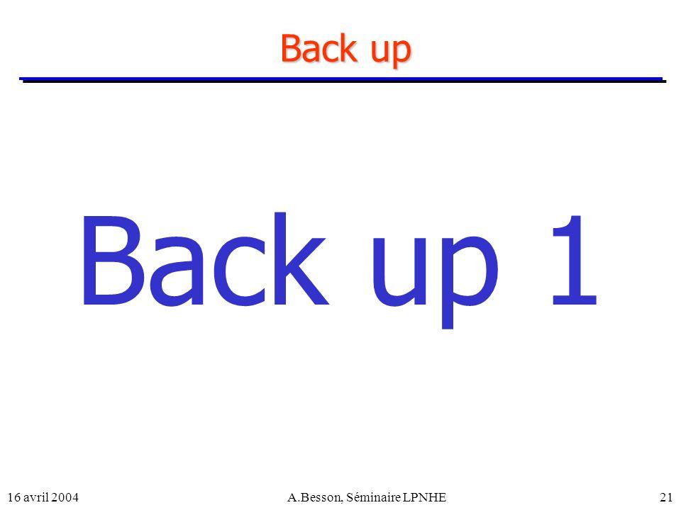 16 avril 2004A.Besson, Séminaire LPNHE21 Back up Back up 1