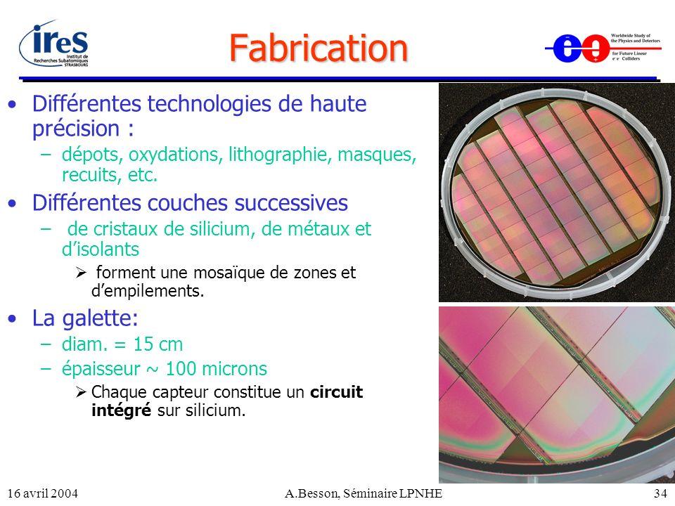 16 avril 2004A.Besson, Séminaire LPNHE34 Fabrication Différentes technologies de haute précision : –dépots, oxydations, lithographie, masques, recuits