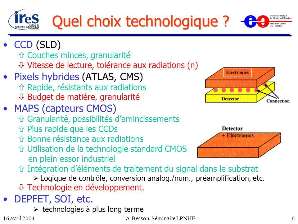 16 avril 2004A.Besson, Séminaire LPNHE6 Quel choix technologique ? CCD (SLD) Couches minces, granularité Vitesse de lecture, tolérance aux radiations