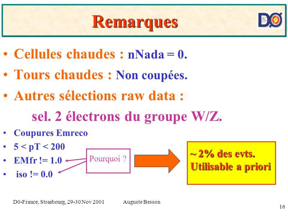 Auguste BessonD0-France, Strasbourg, 29-30 Nov 2001 16 Remarques Cellules chaudes : nNada = 0. Tours chaudes : Non coupées. Autres sélections raw data