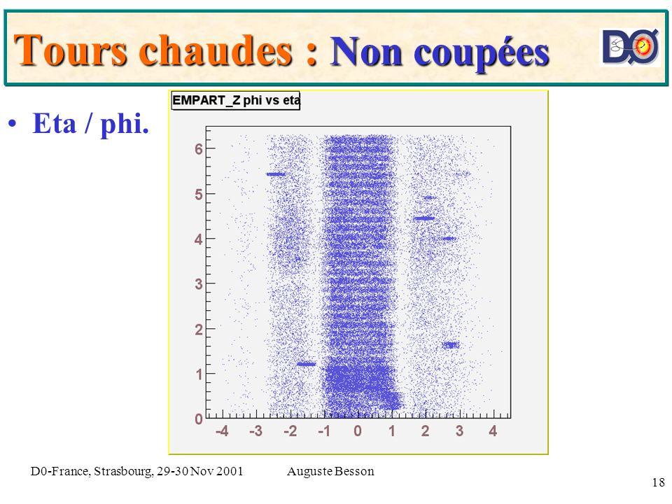 Auguste BessonD0-France, Strasbourg, 29-30 Nov 2001 18 Tours chaudes : Non coupées Eta / phi.