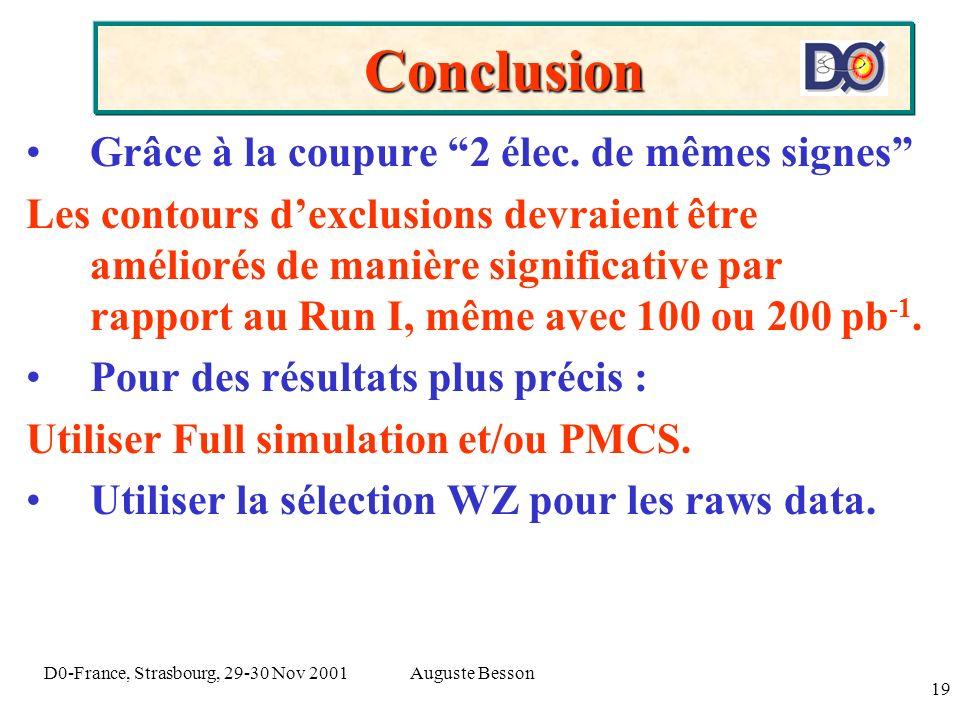 Auguste BessonD0-France, Strasbourg, 29-30 Nov 2001 19 Conclusion Grâce à la coupure 2 élec. de mêmes signes Les contours dexclusions devraient être a