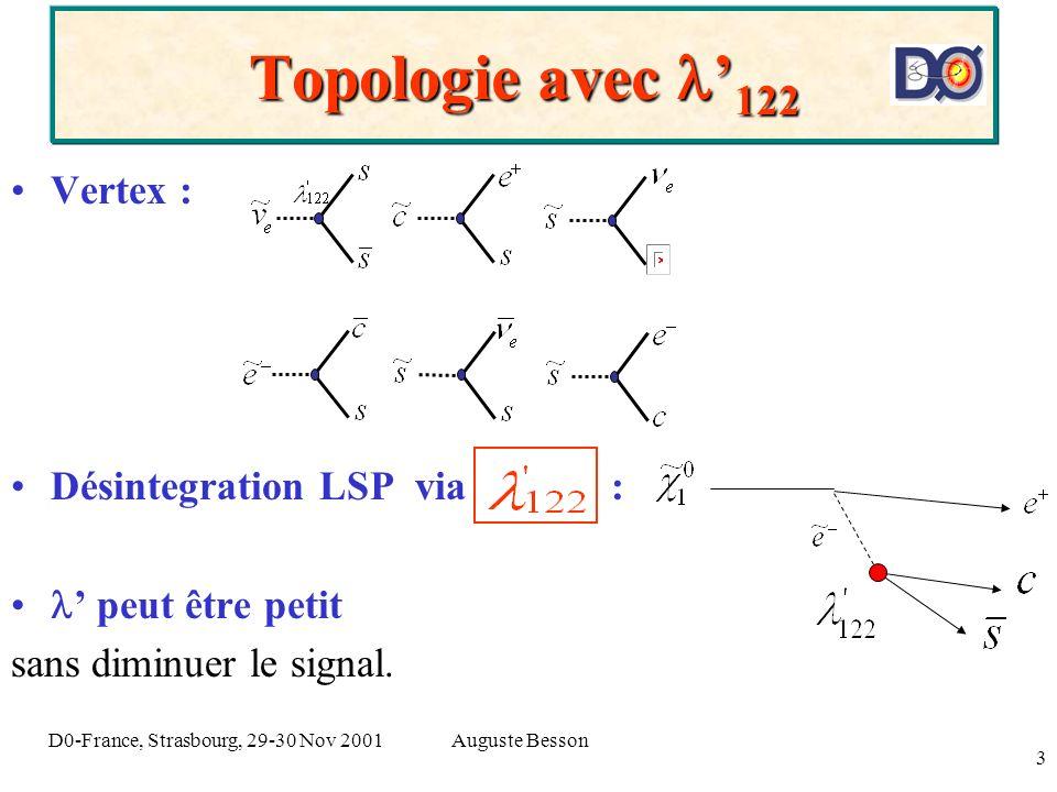 Auguste BessonD0-France, Strasbourg, 29-30 Nov 2001 3 Topologie avec 122 Vertex : Désintegration LSP via : peut être petit sans diminuer le signal.