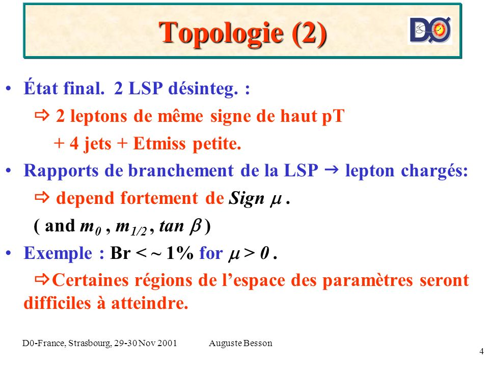 Auguste BessonD0-France, Strasbourg, 29-30 Nov 2001 4 Topologie (2) État final.