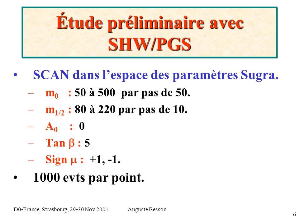 Auguste BessonD0-France, Strasbourg, 29-30 Nov 2001 6 Étude préliminaire avec SHW/PGS SCAN dans lespace des paramètres Sugra. –m 0 : 50 à 500 par pas