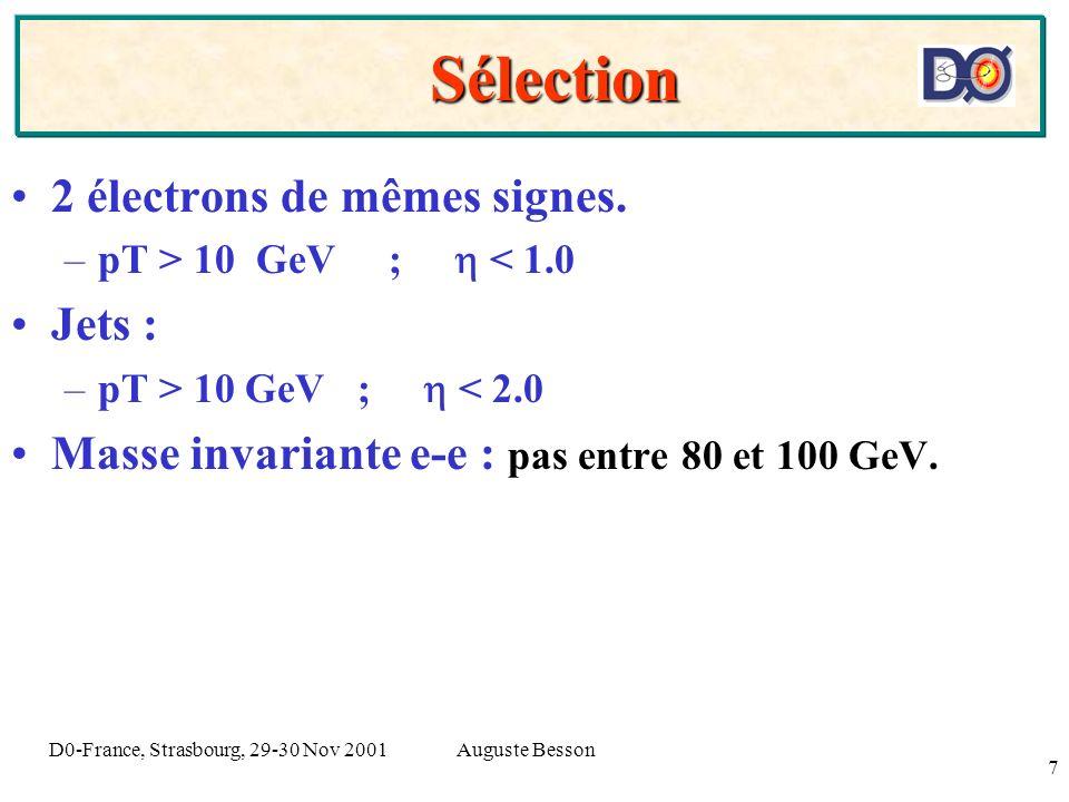 Auguste BessonD0-France, Strasbourg, 29-30 Nov 2001 7 Sélection Sélection 2 électrons de mêmes signes. –pT > 10 GeV ; < 1.0 Jets : –pT > 10 GeV ; < 2.