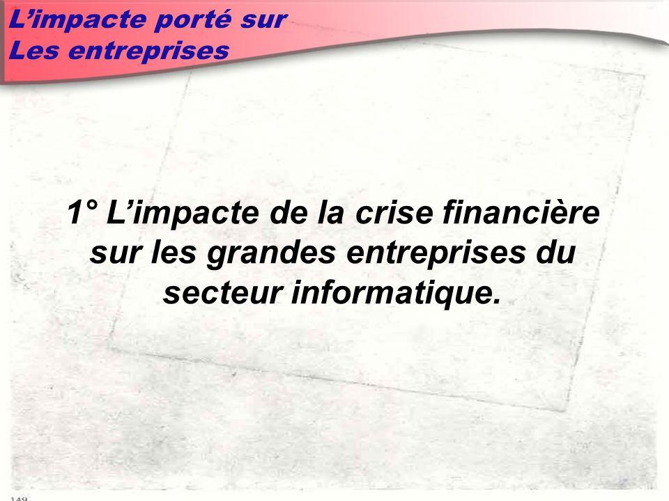 Limpacte porté sur Les entreprises 1° Limpacte de la crise financière sur les grandes entreprises du secteur informatique.