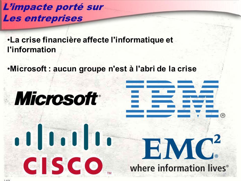 Limpacte porté sur Les entreprises La crise financière affecte l informatique et l information Microsoft : aucun groupe n est à l abri de la crise