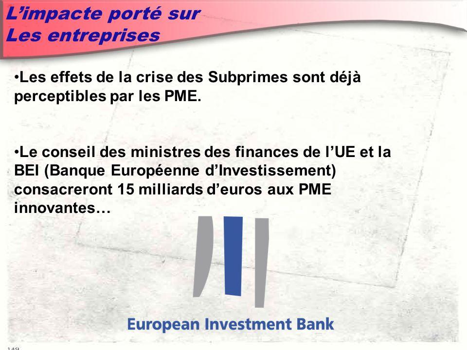 Limpacte porté sur Les entreprises Les effets de la crise des Subprimes sont déjà perceptibles par les PME.
