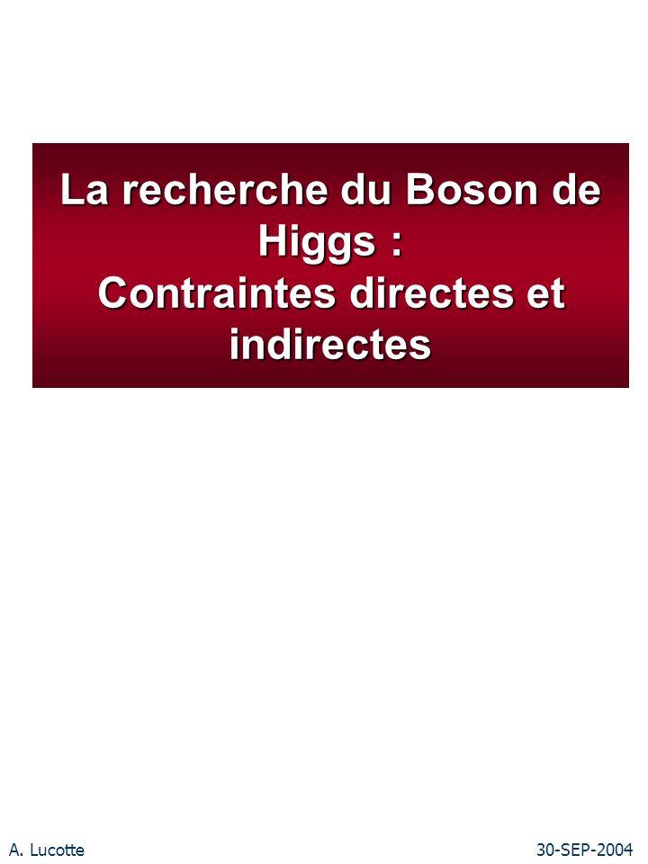 A. Lucotte30-SEP-2004 La recherche du Boson de Higgs : Contraintes directes et indirectes