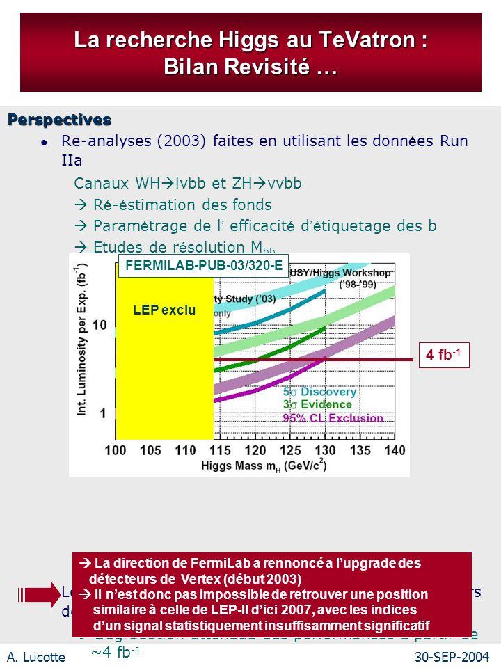 A. Lucotte30-SEP-2004 La recherche Higgs au TeVatron : Bilan Revisité … Perspectives Re-analyses (2003) faites en utilisant les donn é es Run IIa Cana
