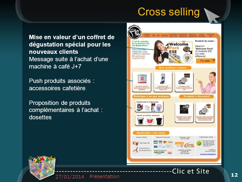 Mise en valeur dun coffret de dégustation spécial pour les nouveaux clients Message suite à lachat dune machine à café J+7 Push produits associés : ac