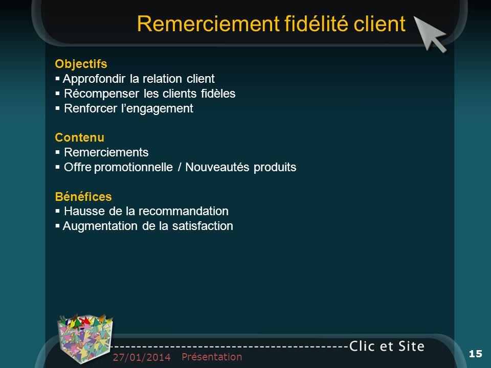 Objectifs Approfondir la relation client Récompenser les clients fidèles Renforcer lengagement Contenu Remerciements Offre promotionnelle / Nouveautés