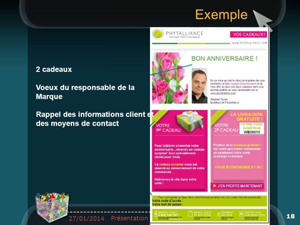 2 cadeaux Voeux du responsable de la Marque Rappel des informations client et des moyens de contact 27/01/2014 Présentation 18 Exemple