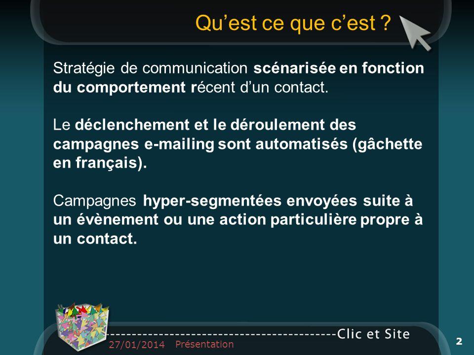 Stratégie de communication scénarisée en fonction du comportement récent dun contact. Le déclenchement et le déroulement des campagnes e-mailing sont
