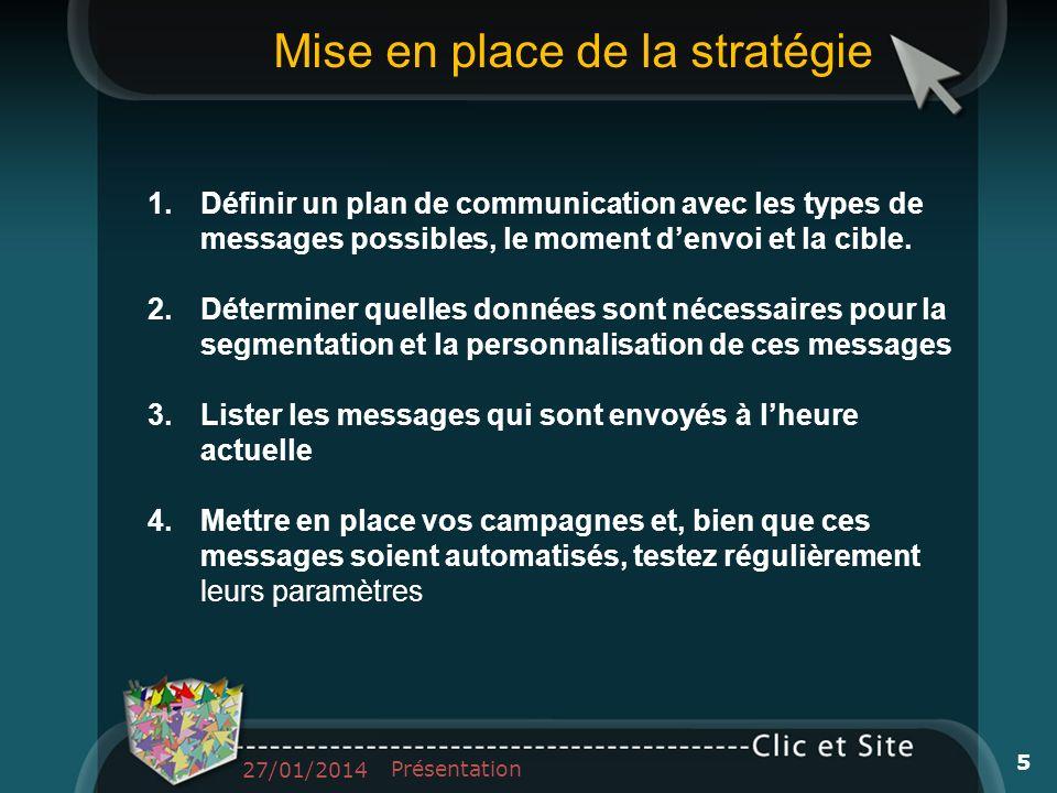 1.Définir un plan de communication avec les types de messages possibles, le moment denvoi et la cible. 2.Déterminer quelles données sont nécessaires p