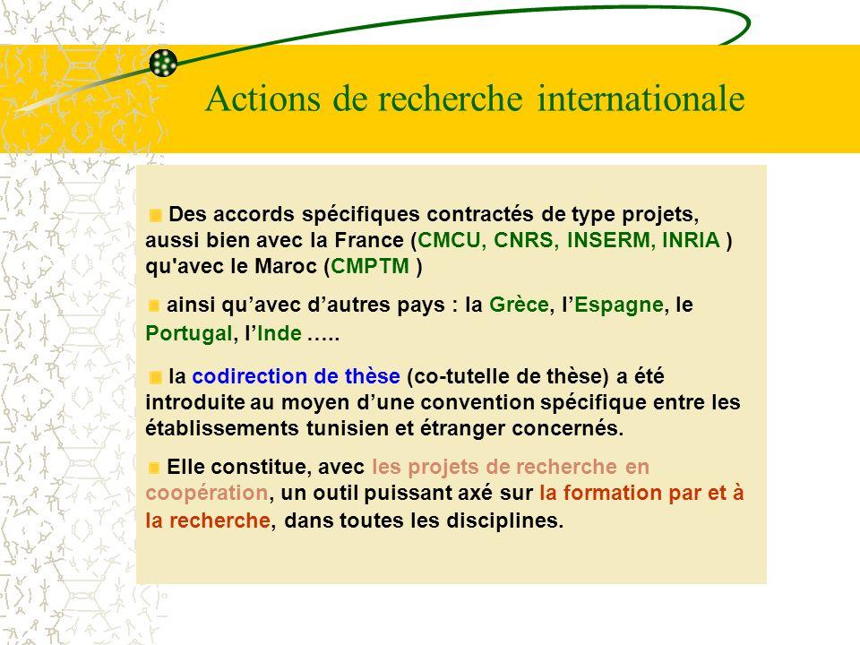 Actions de recherche internationale Des accords spécifiques contractés de type projets, aussi bien avec la France (CMCU, CNRS, INSERM, INRIA ) qu'avec